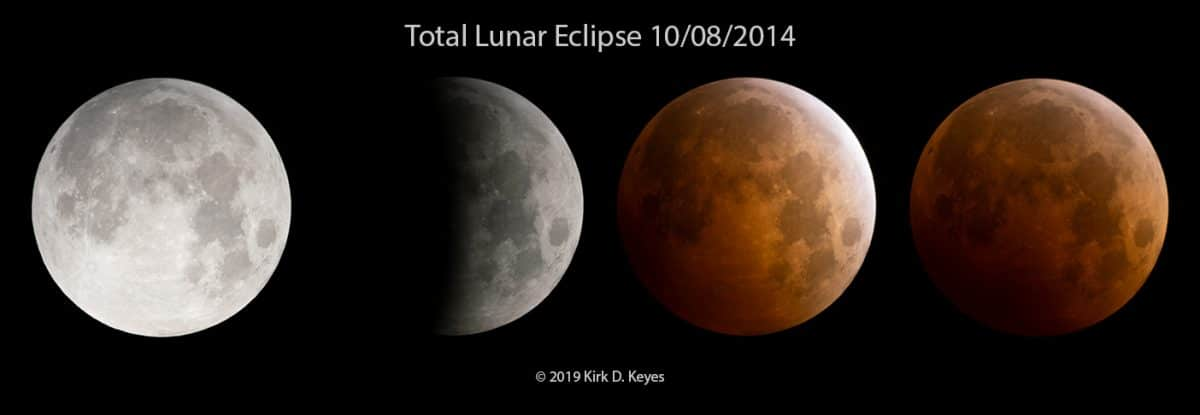 Multiple Exposure Composites can be made by combining any images of the Moon in an image editing program like Photoshop. For this image, I combined 4 photos that I took at various stages of the eclipse and created a new image out of them. Photo Credit: ©2019 Kirk D. Keyes