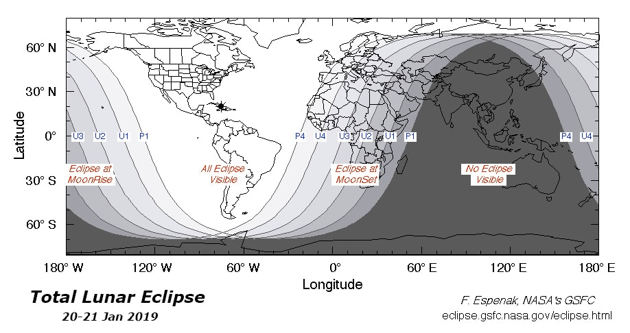 """This map shows where the Moon will rise or set during each stage of the eclipse. See the section on """"Stages of a Lunar Eclipse"""" to find out what the line designations mean. Graphics courtesy of F. Espenak, NASA."""