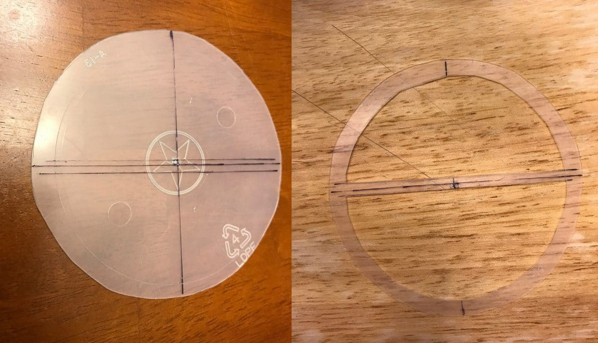 """Left: Shows the center line and the two parallel lines above and below it. Right: Shows the two """"D"""" shapes cut out of the plastic."""