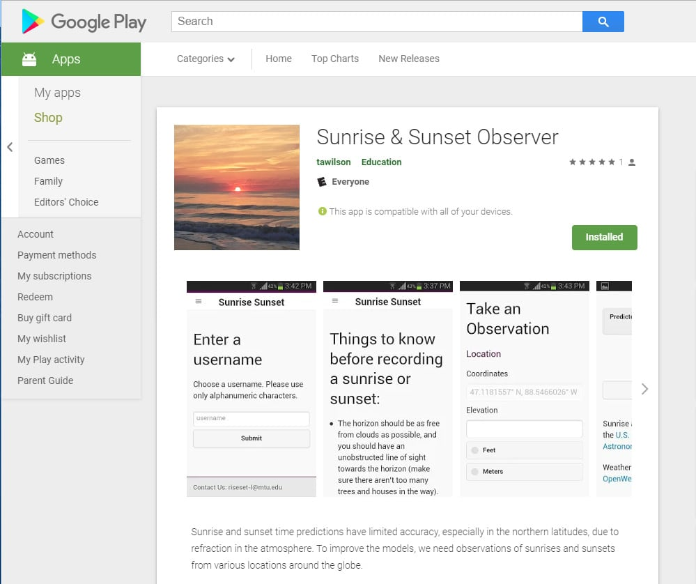 Sunrise Sunset App Google Play screenshot