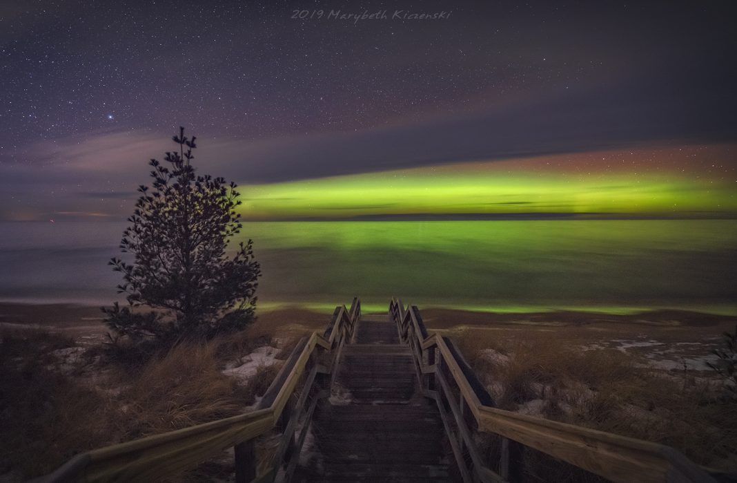Chasing Lady Aurora - Lady Aurora dancing over Lake Superior in Michigan. 1/4/19