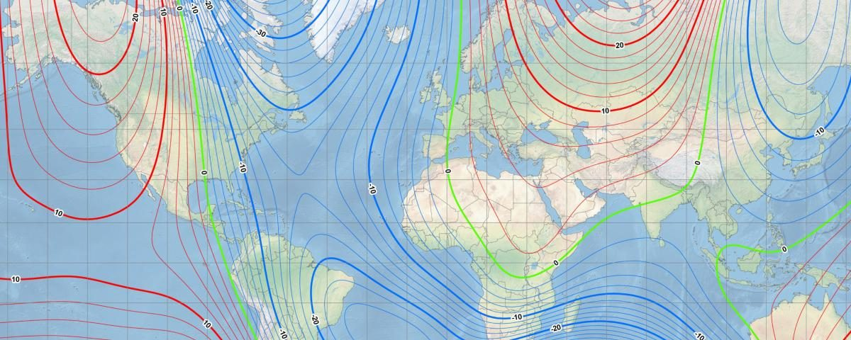 This map shows the location of the north magnetic pole (white star) and the magnetic declination (contour interval 2 degrees) at the beginning of 2019. Courtesy of NOAA NCEI/CIRES.