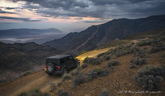 Maneuverability allows for this Jeep to navigate along the cliff side in Death Valley confidently. 2018 Copyright Marybeth Kiczenski