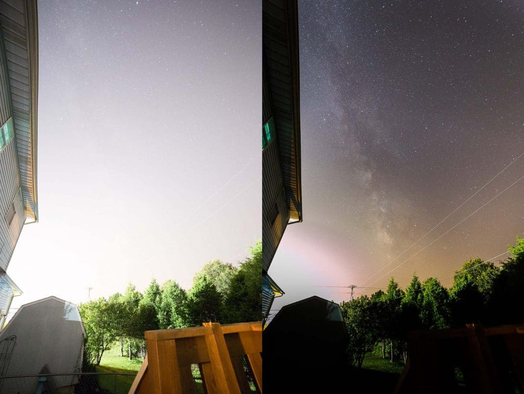Milky way in light pollution, Expose to the right histogram before and after