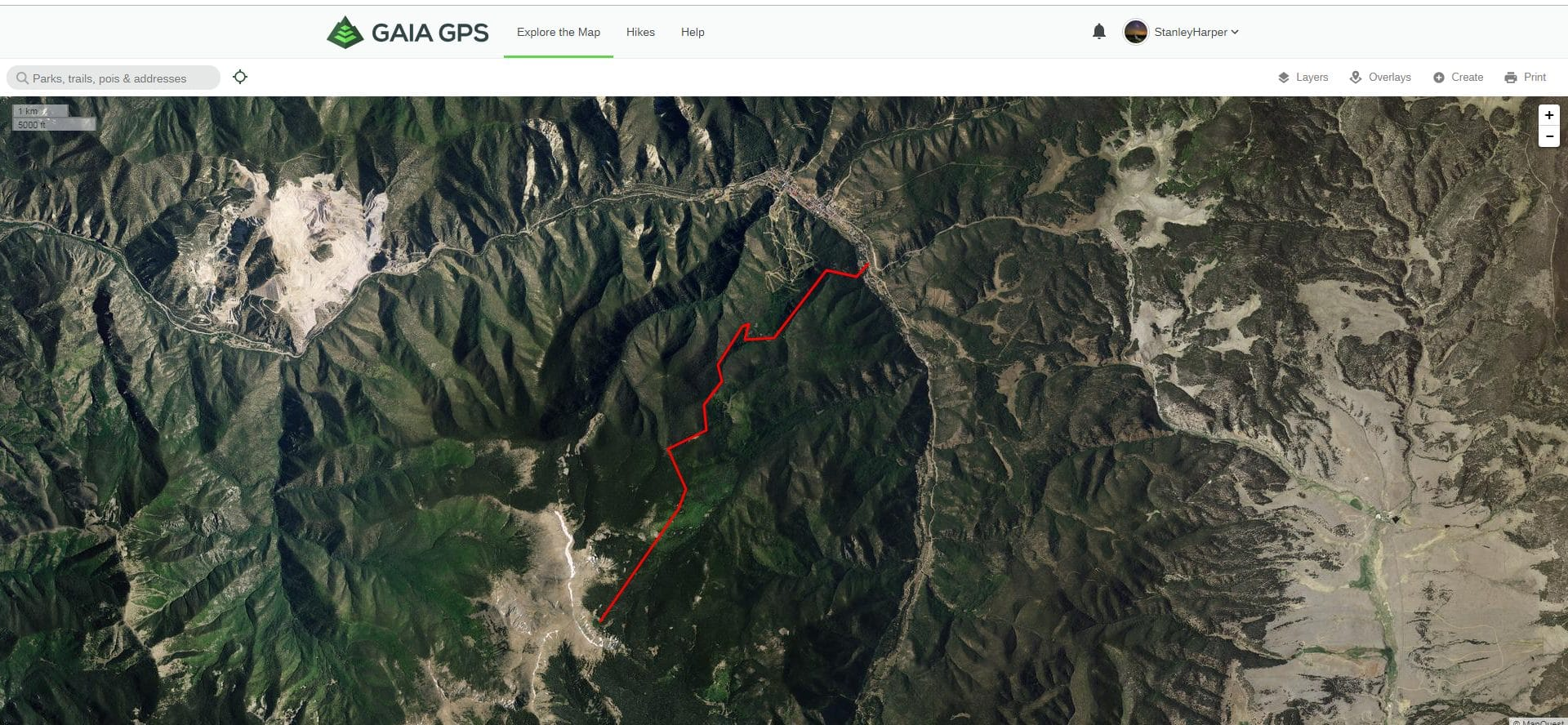 A preplanned route displayed on the GAIA GPS web interface.