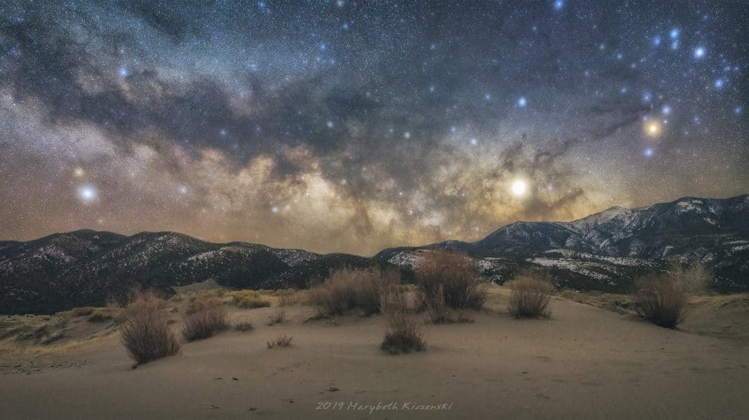 35mm Pano of the Milky Way Rising over the Sangre De Cristo Mountain. 2019 Copyright MaryBeth Kiczenski.