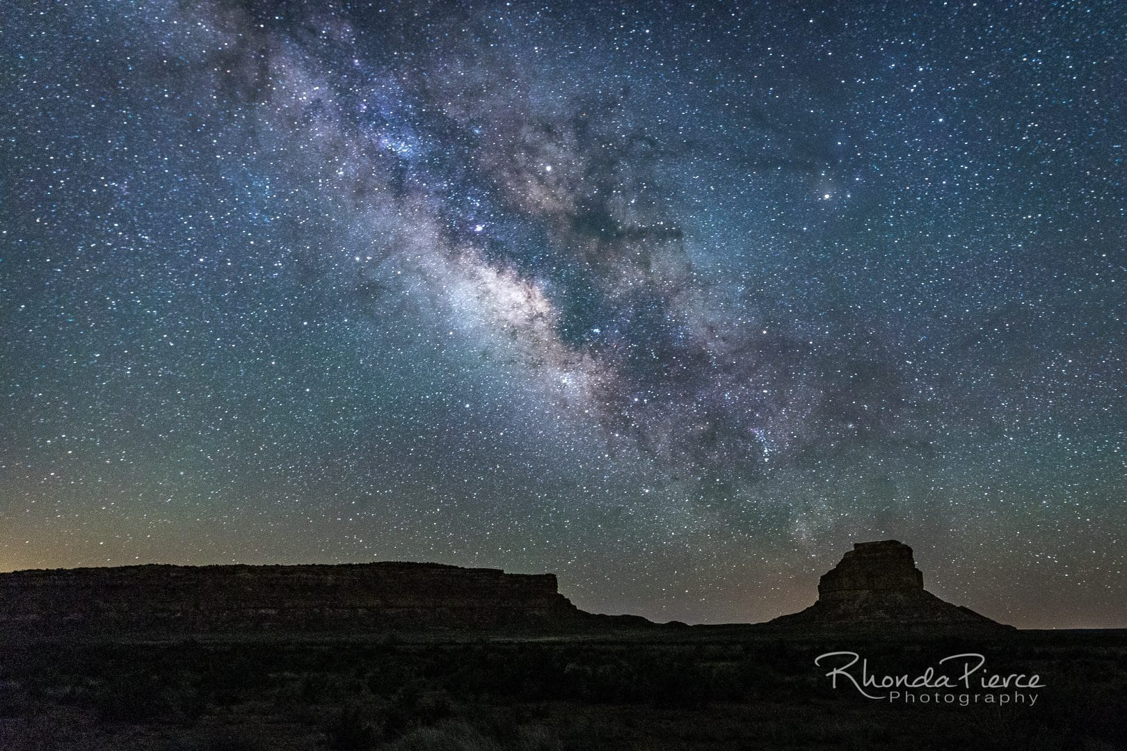 A mid-April Milky Way, rising over Fajada Butte, at Chaco Culture National Historic Park in New Mexico.