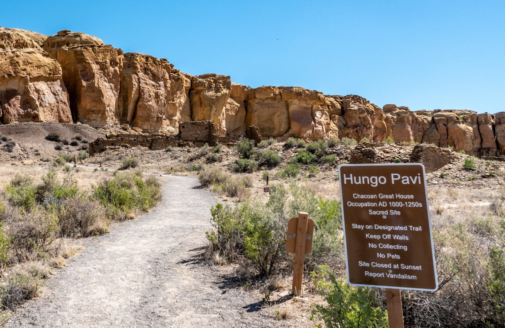The trail leading to Hungo Pavi, one of the many culturally sensitive and ancient pueblo ruins at New Mexico's Chaco Culture National Historical Park.  On August 19, 2013, the  International Dark-Sky Association officially designated Chaco Culture an International Dark Sky Park.