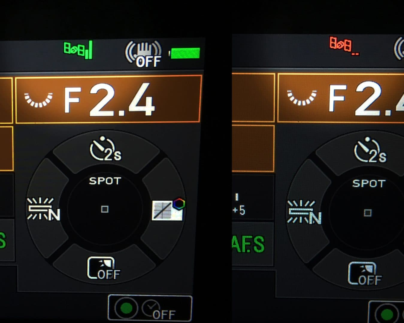 A green satellite icon at the top of the screen (left image) shows the Pentax K-1 has successfully locked onto the GPS signal.