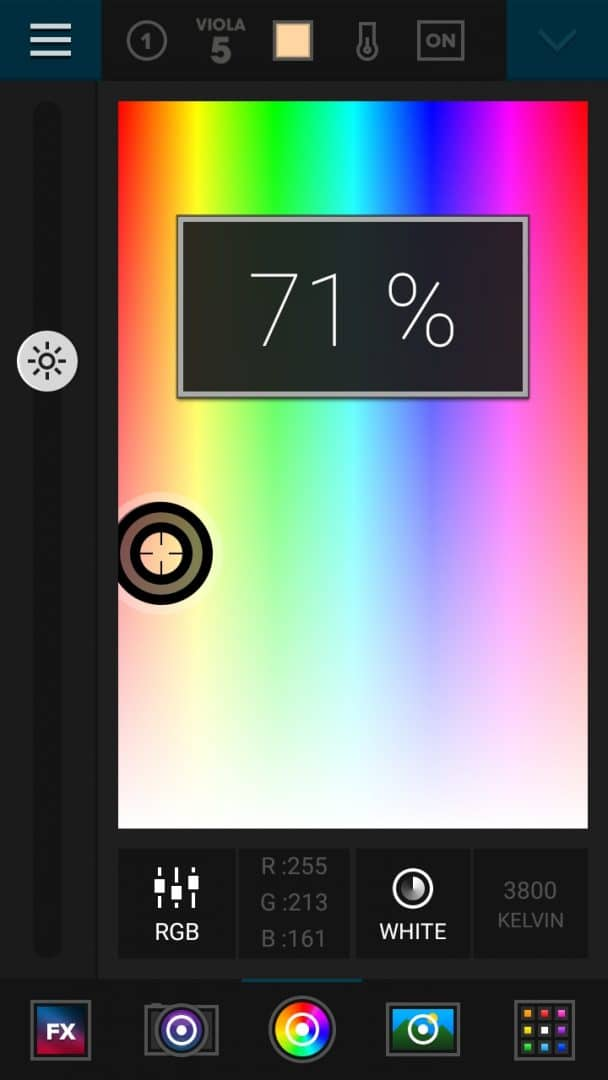 The Luxli Conductor app for remotely controlling the Viola. The color temp is set to 3800 K and Brightness to 71%.