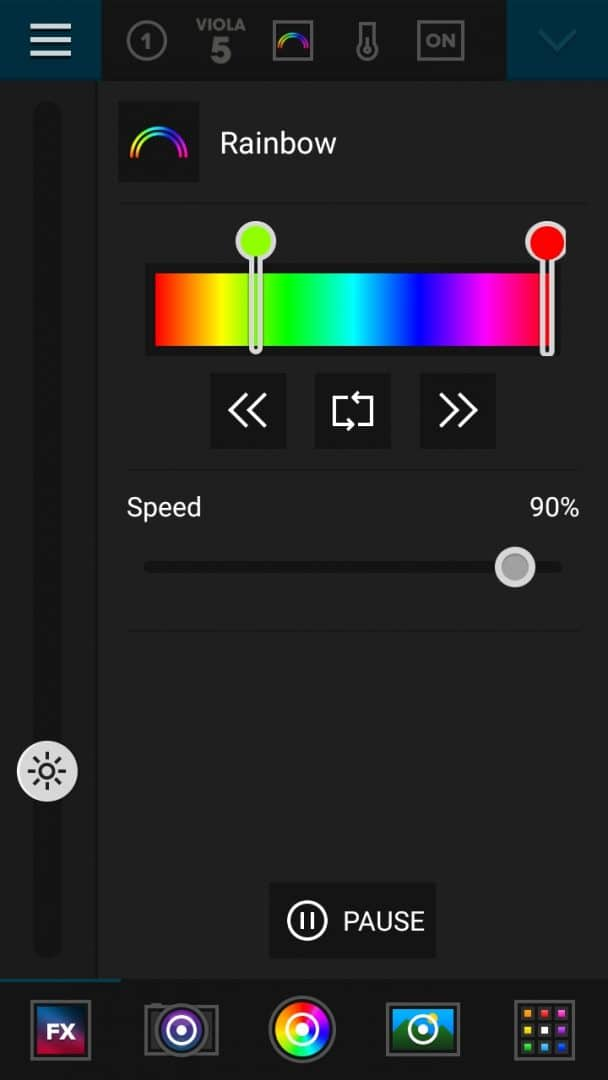 """The Luxli Conductor app set to FX """"Rainbow"""" mode. You can set a range of colors that the light will cycle through. Here are the settings I used at Thor's Well - it is set to go from Green to Red, and the speed is at 90% Maximum."""