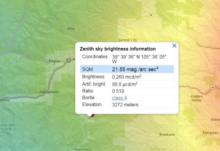 2019 Copyright MaryBeth Kiczenski. Echo Lake's Bortle Class according to www.lightpollutionmap.info