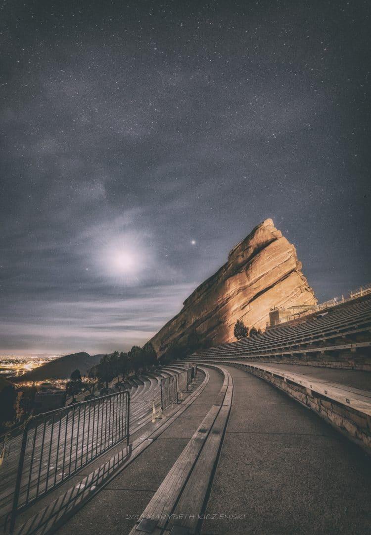 OUtside of Denver - Red Rocks under the moonlight and Milky Way. 2019 Copyright MaryBeth Kiczenski.
