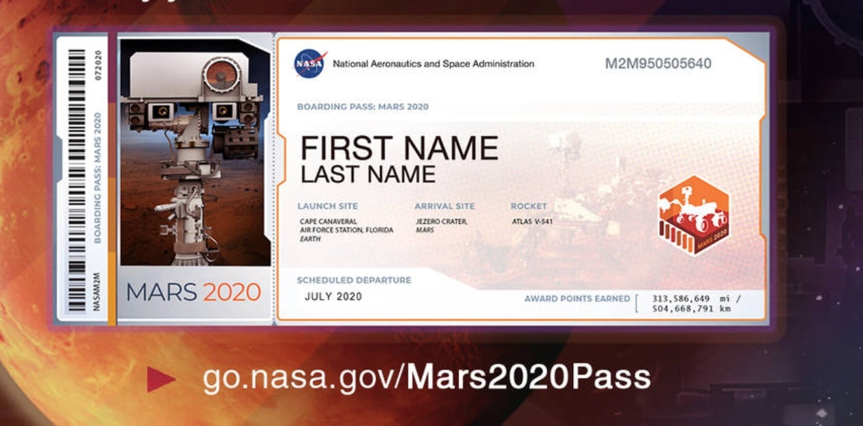 Send Your Name to Mars Ticket