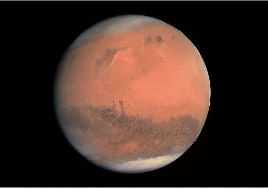 ESA - European Space Agency & Max-Planck Institute for Solar System Research for OSIRIS Team ESA/MPS/UPD/LAM/IAA/RSSD/INTA/UPM/DASP/IDA - http://www.esa.int/spaceinimages/Images/2007/02/True-colour_image_of_Mars_seen_by_OSIRISTrue color image of Mars taken by the OSIRIS instrument on the ESA Rosetta spacecraft during its February 2007 flyby of the planet. The image was generated using the OSIRIS orange (red), green, and blue filters. Alternative description: The first true-colour image generated using the OSIRIS orange (red), green and blue colour filters. The image was acquired on 24 February 2007 at 19:28 CET from a distance of about 240 000 km; image resolution is about 5 km/pixel.