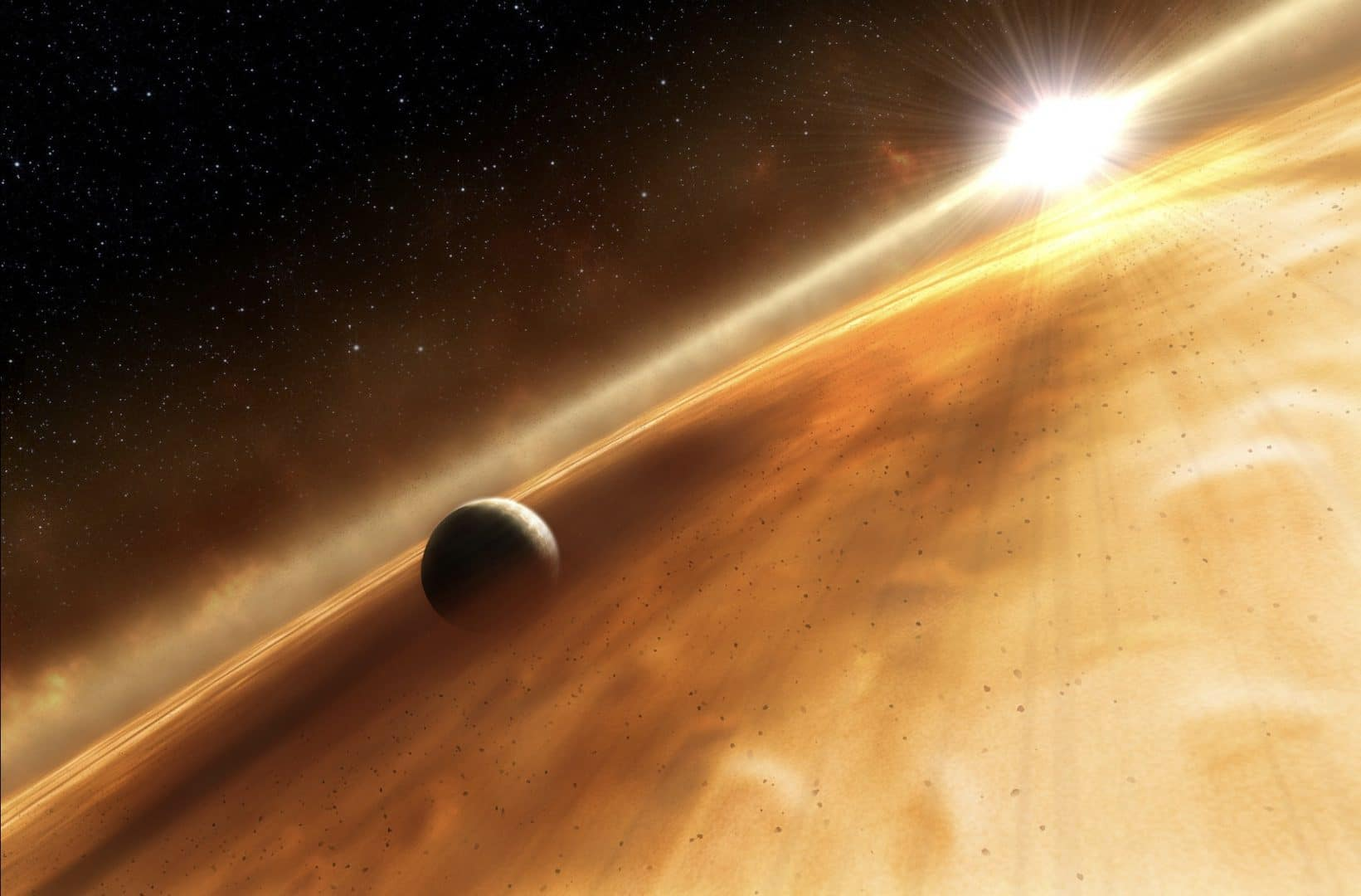 This artist's conception depicts a new planet orbiting its sun. ESA, NASA, and L. Calcada (ESO for STScI) - Hubble Directly Observes Planet Orbiting Fomalhaut