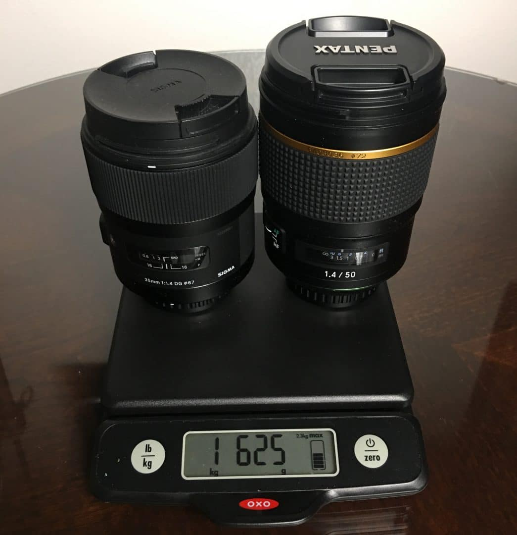 The Sigma and Pentax primes weight 1,625 grams. Prime or Zoom?