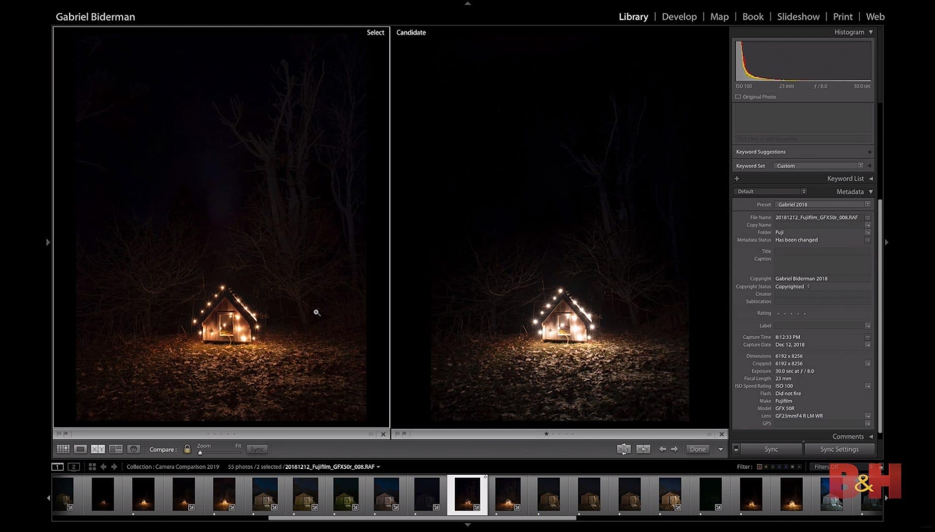 Comparing the dynamic range of the Fuji GFX 50R and the Sony a7RIII. B&H Biderman Night Photography