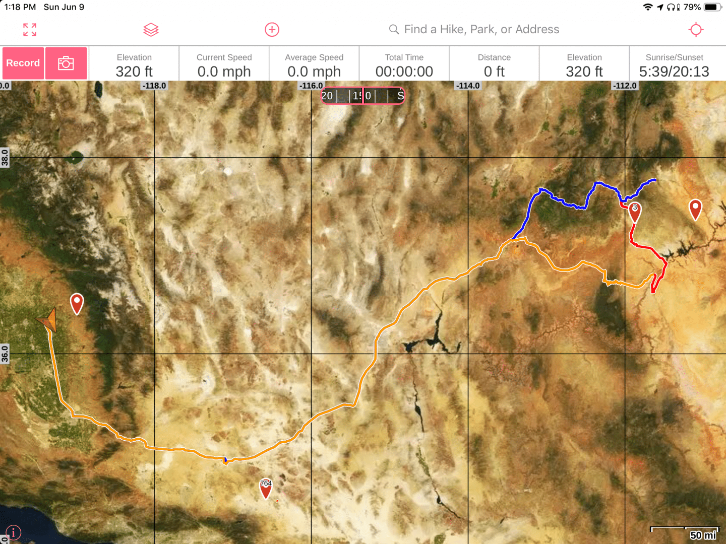 Here's the route I traveled from California to the Colorado Plateau.