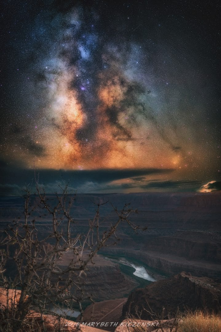 """The foreground here was shot during the blue hour to capture detail in a canyon at Dead Horse Point.   The Milky Way was captured later. From MilkyWayPhotographers.com, """"Top Milky Way Photography Tricks That Aren't Tricks!"""" Photo Credit: MaryBeth Kiczenski"""