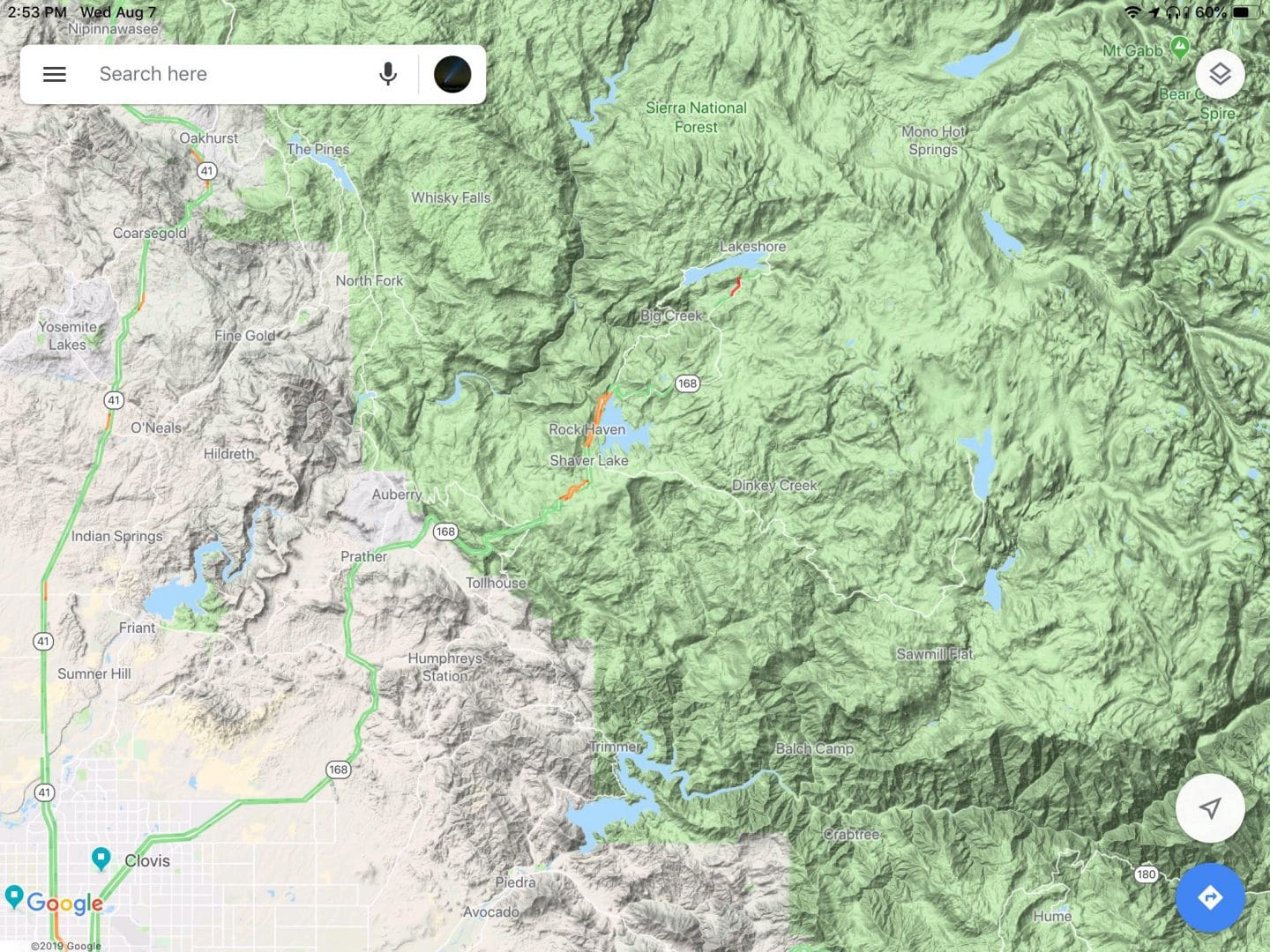 Map of where the California Central Valley meets the Sierra Nevada.