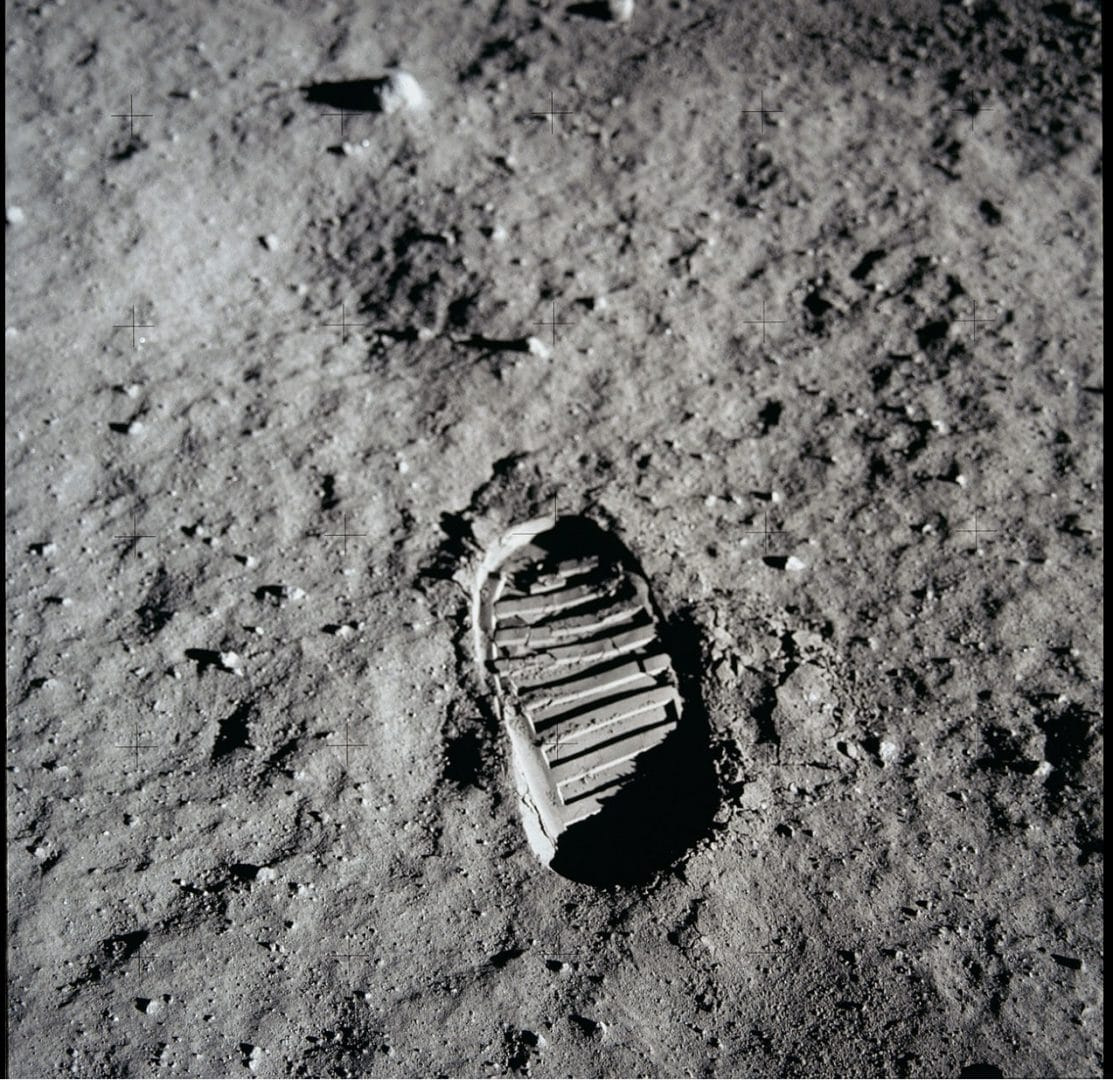 Who owns the Moon Footprints?  Buzz Aldrin's footprints are still on the lunar surface. Photo courtesy NASA.
