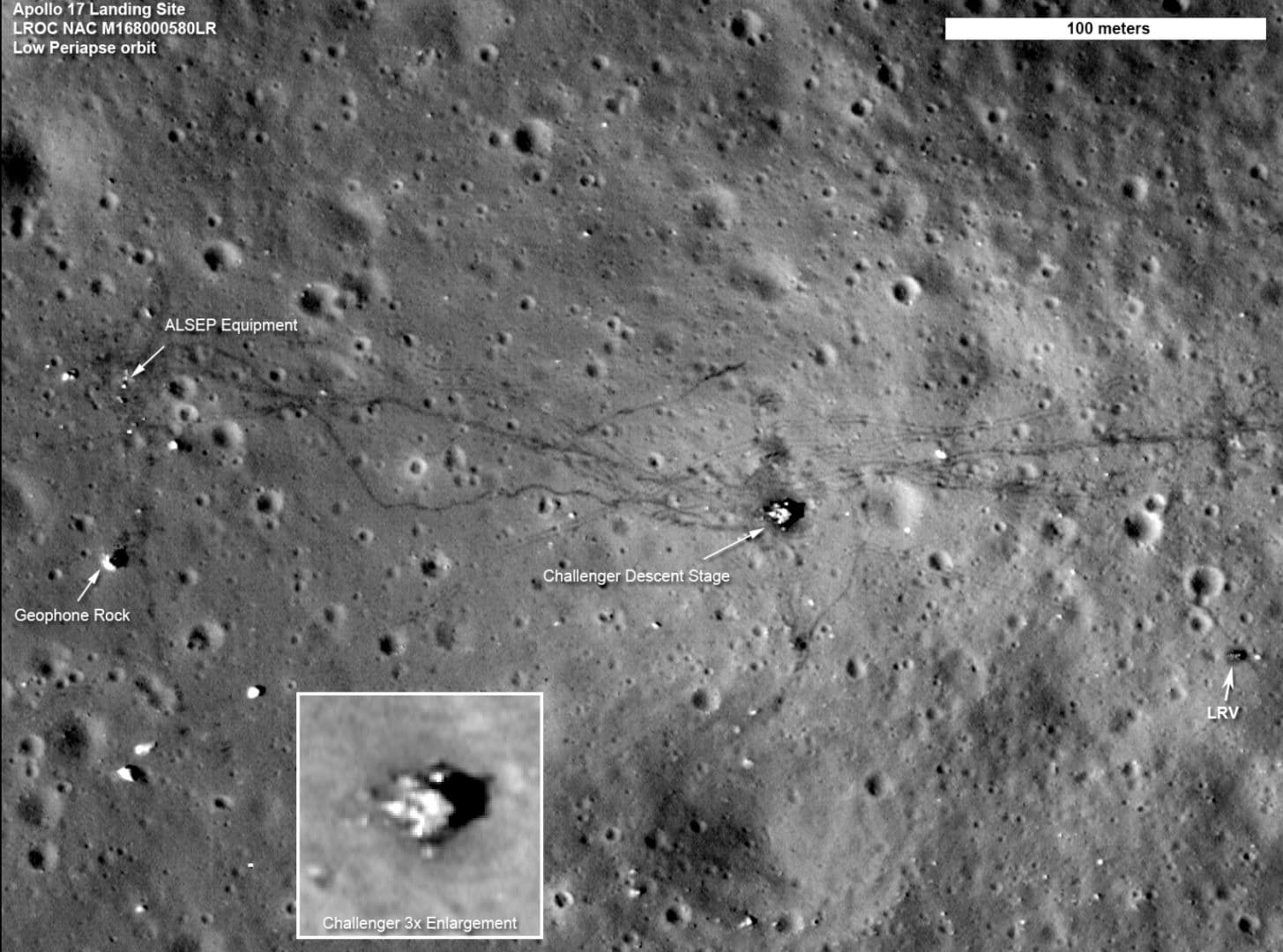 A NASA photo shows the Apollo 17 landing site and the surrounding area. The thin lunar soil records the trails made by the astronauts and the Lunar Rover.  Taken by the Lunar Reconnaissance Orbiter. Who Owns the Moon?