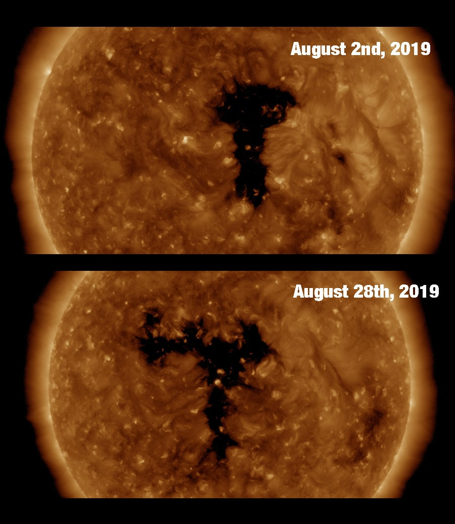 Spaceweather.com posted up these images of the Coronal Hole responsible for the last two G1 and G2 level events.  Notice the changes in the shape over the 27-day cycle.    Images courtesy of www.spaceweather.com.