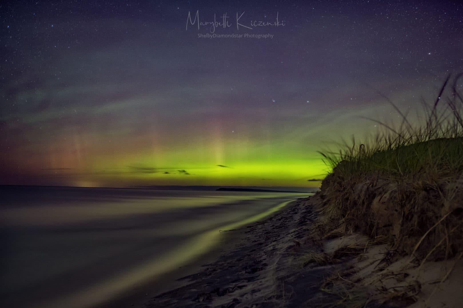 2019 Labor Day Aurora - Aurora and Airglow over the shores of Lake Michigan in Sleeping Bear Dunes National Lakeshore, Empire, MI. Photo by MaryBeth Kiczenski.
