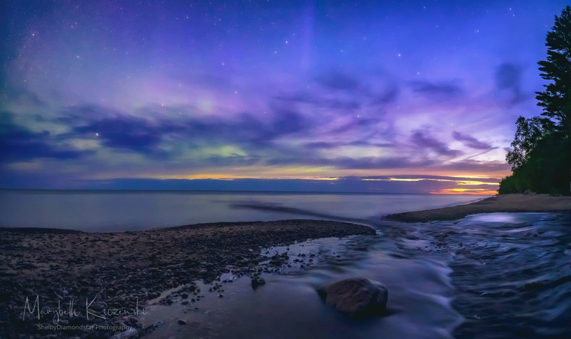 """Labor Day Aurora - As the sky brightened, the colors turned a more pastel pink and green.  I referred to this one as """"cotton candy.""""   (2-image Pano - Nikon Z6 - Nikkor 14-24mm) Photo by MaryBeth Kiczenski."""