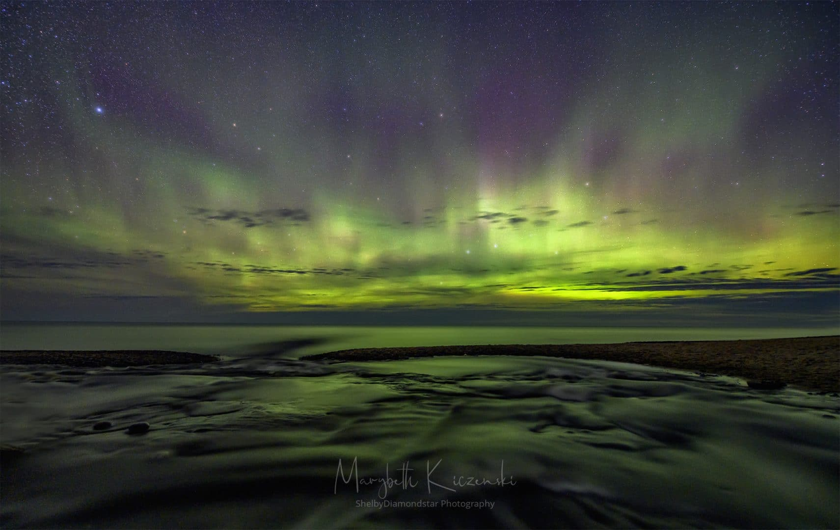 Labor Day Aurora - A 14mm wide-angle shot of the pulsating Aurora.  It was so intense that it filled the entire frame!  (Nikon Z6 - Nikkor 14-24mm) Photo by MaryBeth Kiczenski.