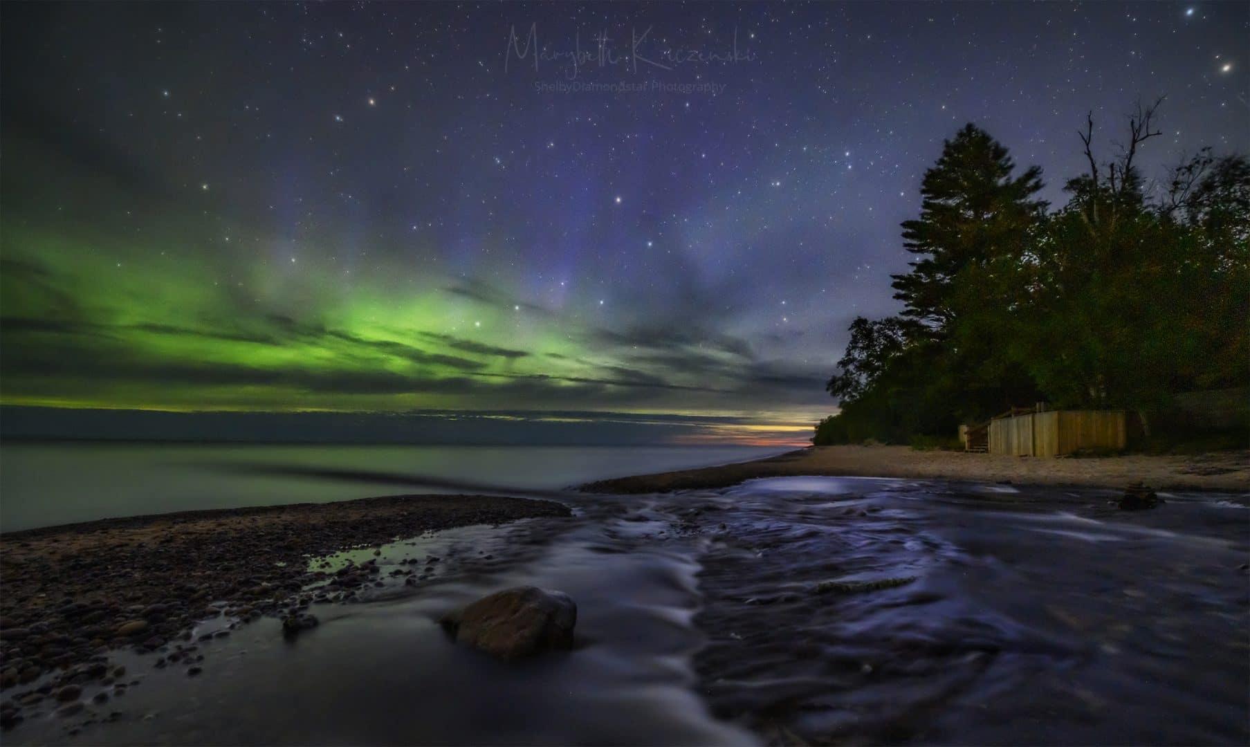 First light and the Aurora.  (Nikon Z6 - Nikkor 14-24mm) Photo by MaryBeth Kiczenski.