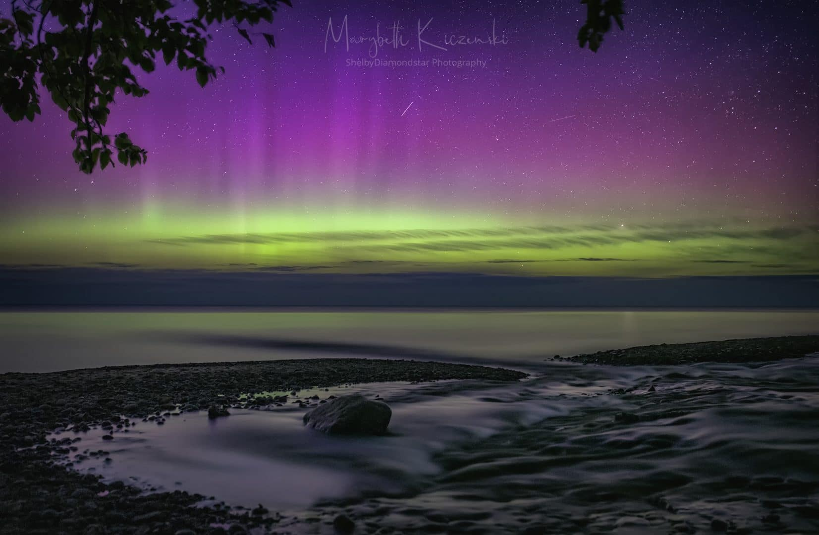 At the start of the night, Lady Aurora danced in pillars. (Sigma ART 35mm - Nikon D850) Photo by MaryBeth Kiczenski.
