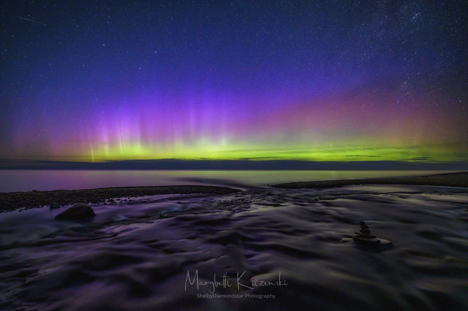 2019 Labor Day Aurora - Wide-angle shot of the pillars on the horizon over the Hurricane River.  (Nikon Z6 - Nikkor 14-24mm) Photo by MaryBeth Kiczenski.