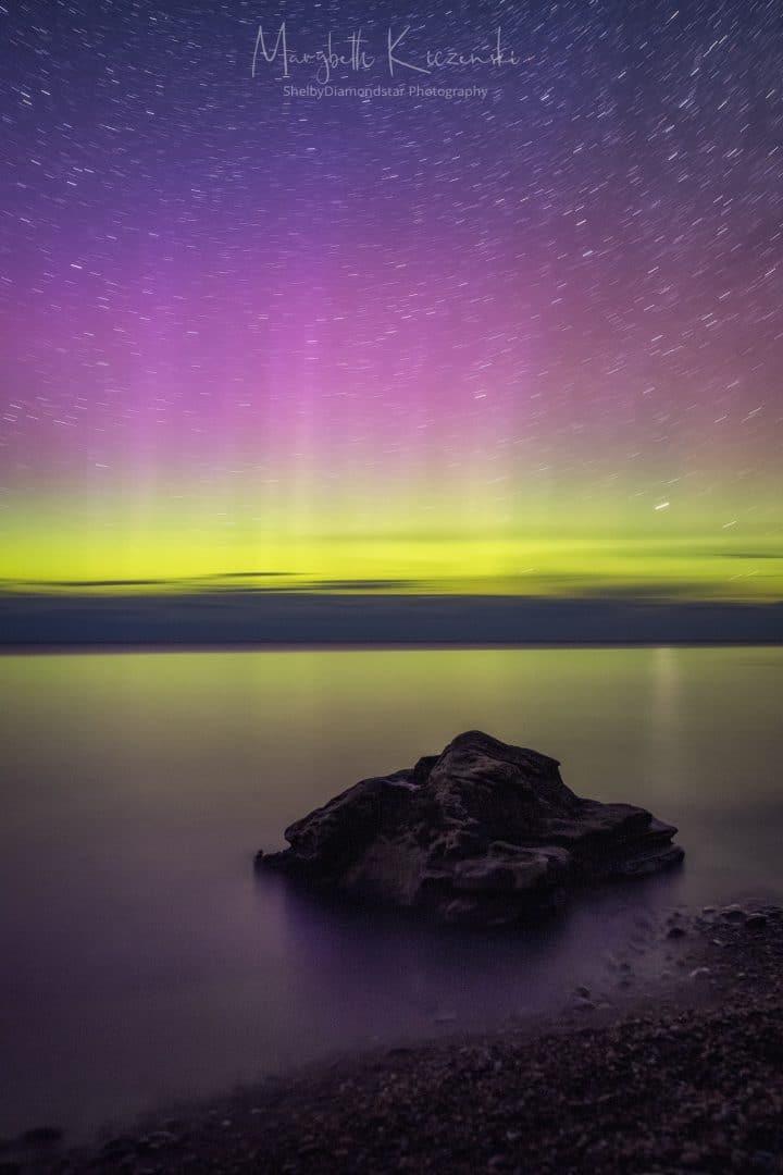 Single 4-minute exposure creating some star trails above the rock. (Sigma ART 35mm - Nikon D850) Photo by MaryBeth Kiczenski.
