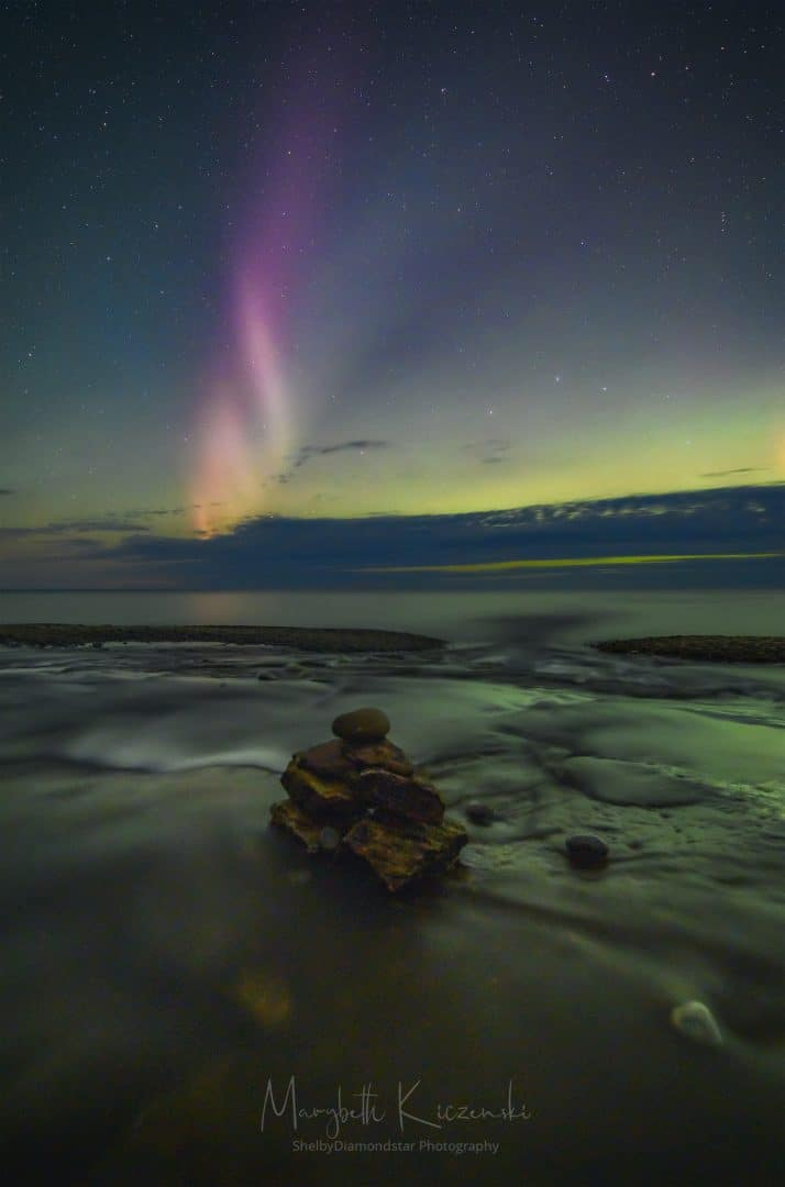 Labor Day Aurora and STEVE - Close up of a STEVE.  Longer the usual exposure - 30-seconds tracked.  That created more blurring on the phenomenon.  (Nikon Z6 - Nikkor 14-24mm) Photo by MaryBeth Kiczenski.