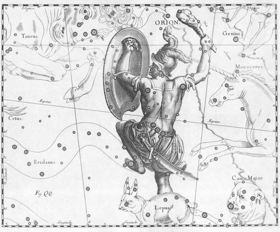 Johannes Hevelius (28 January 1611 – 28 January 1687) Scanned by Torsten Bronger, 4 April 2003., Orion constellation Hevelius, marked as public domain, more details on Wikimedia Commons