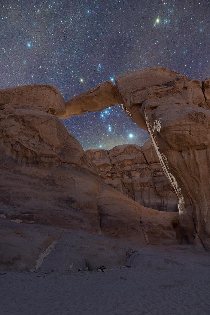 Um Fruth rock bridge, Wadi Rum, Jordan, by Arnaldo Zannoni.