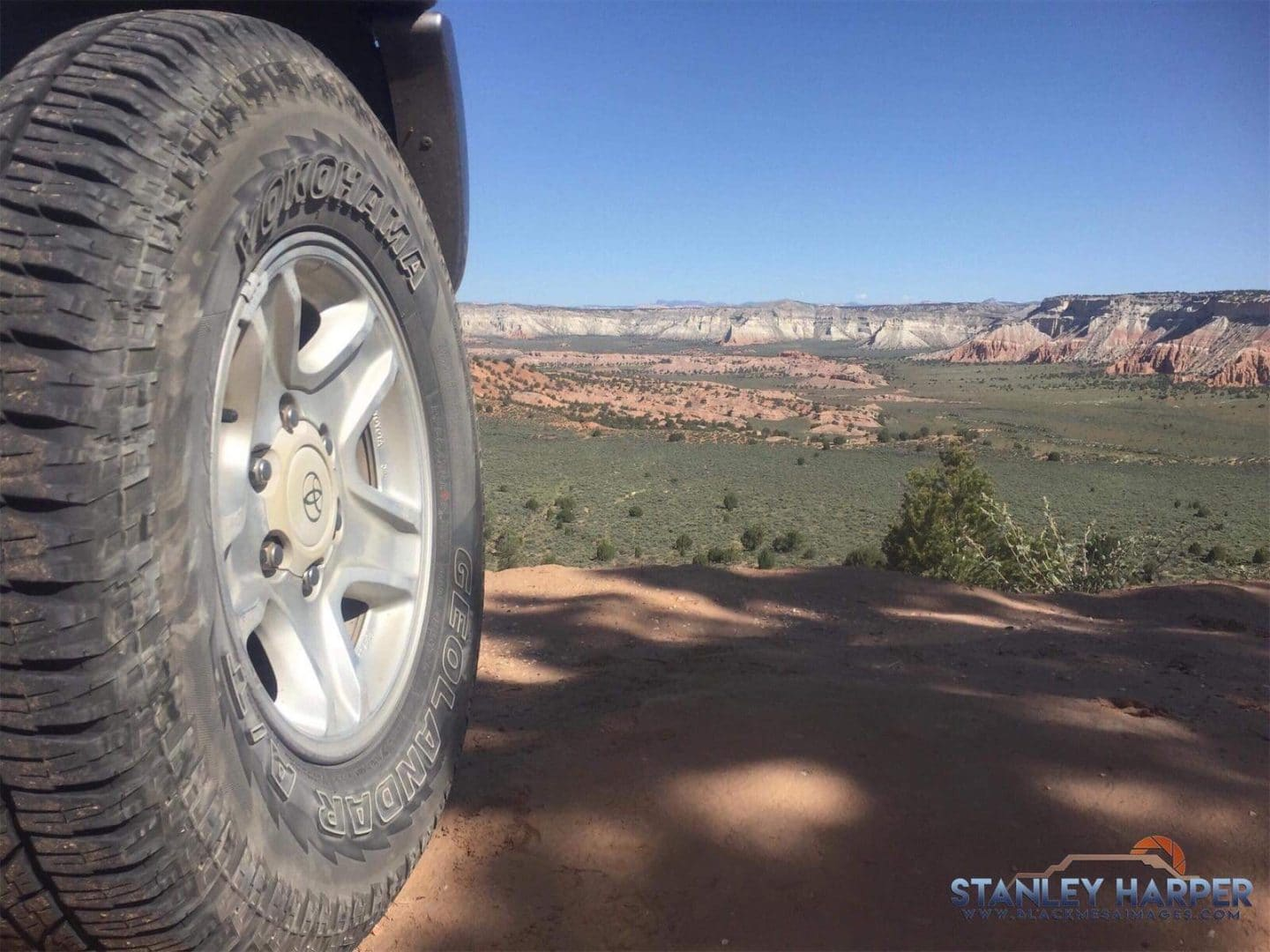 Tires looking out into the desert Photo From Milky Way Photography Safety and Security Tips, Copyright 2020 Stanley Harper