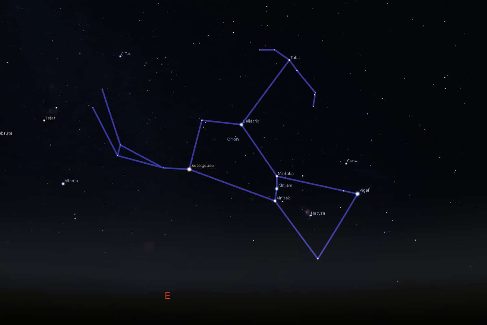 A rising Orion viewed from mid-northern latitude. Graphic courtesy Stellarium.