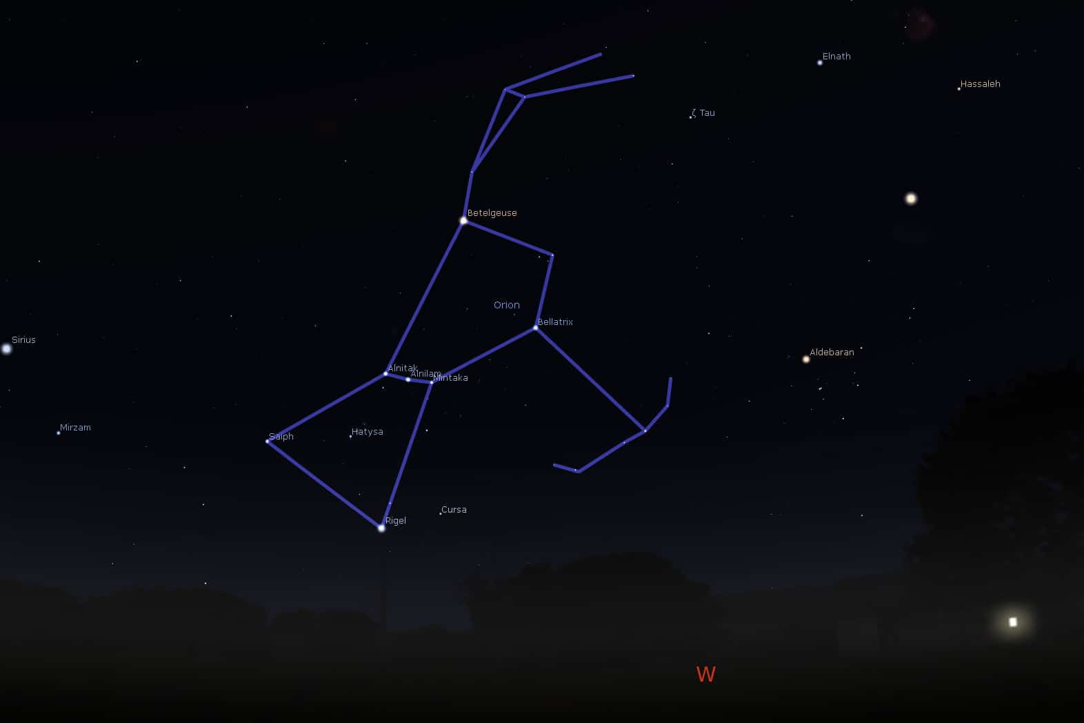 Orion setting from mid-northern latitudes.