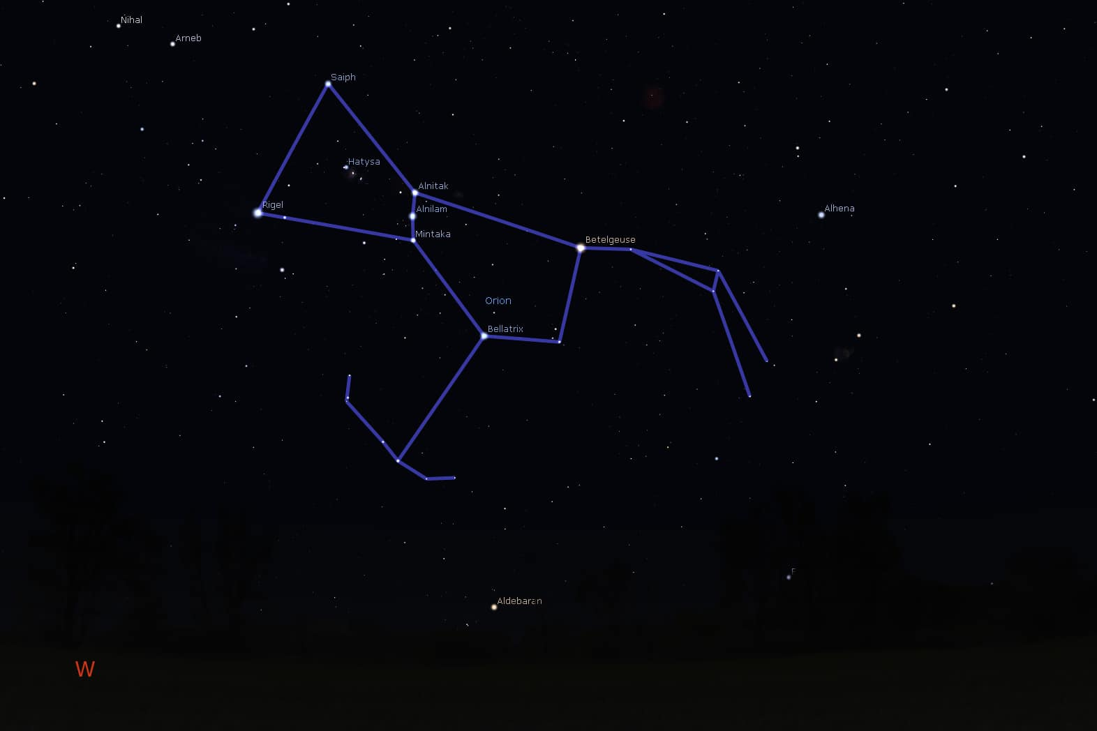 Orion setting from mid-southern latitudes (Sydney, Australia) during late April evenings. Image courtesy of Stellarium.