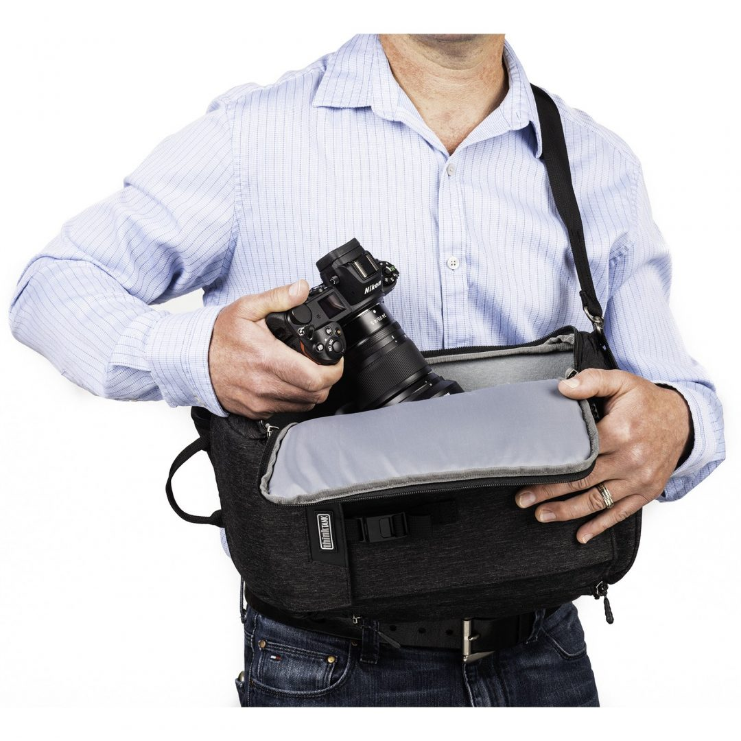 The MindShift Urban Access 8 Sling bag enables you to quickly access gear without taking off the back. Image Courtesy www.ThinkTankPhoto.com