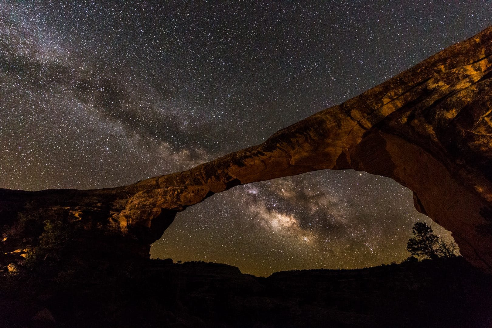 Milky Way Galactic Core framed in the gap under the Owochomo Natural Bridge at Natural Bridges National Monument.