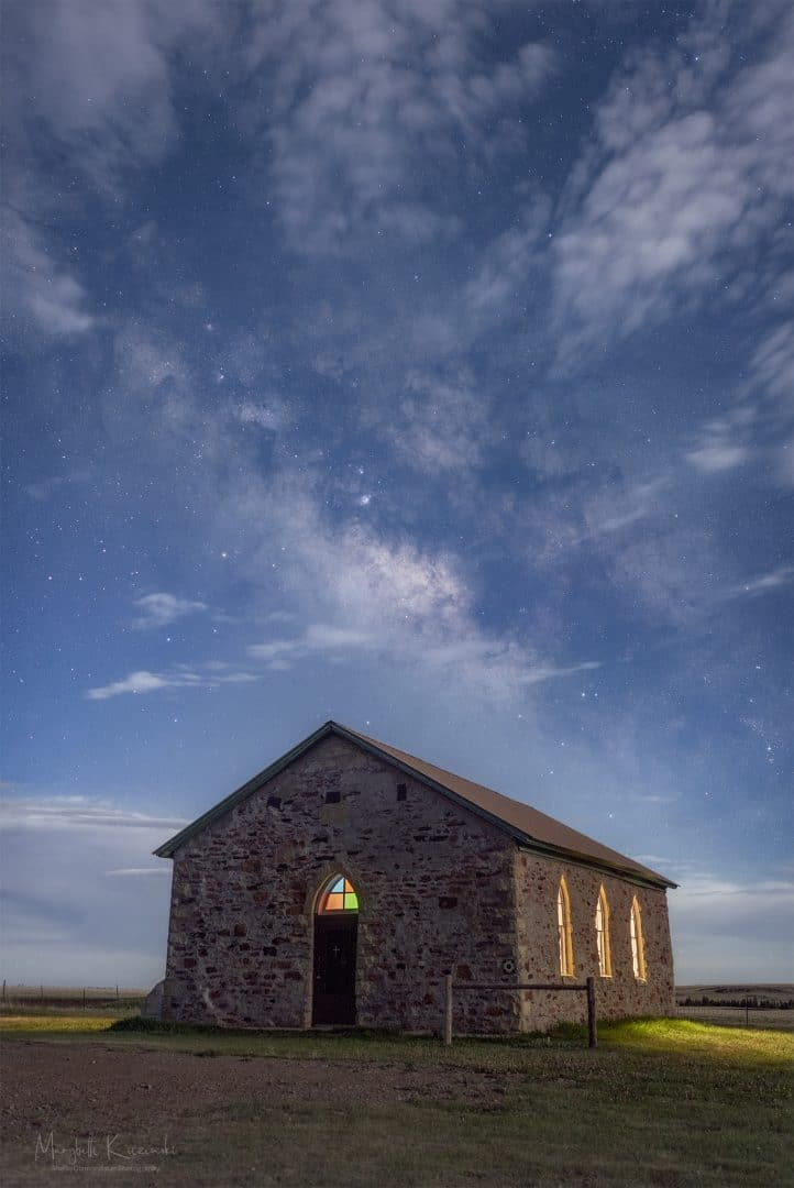 Johnson Mesa Church in the Moonlight. Copyright 2020 MaryBeth Kiczenski.