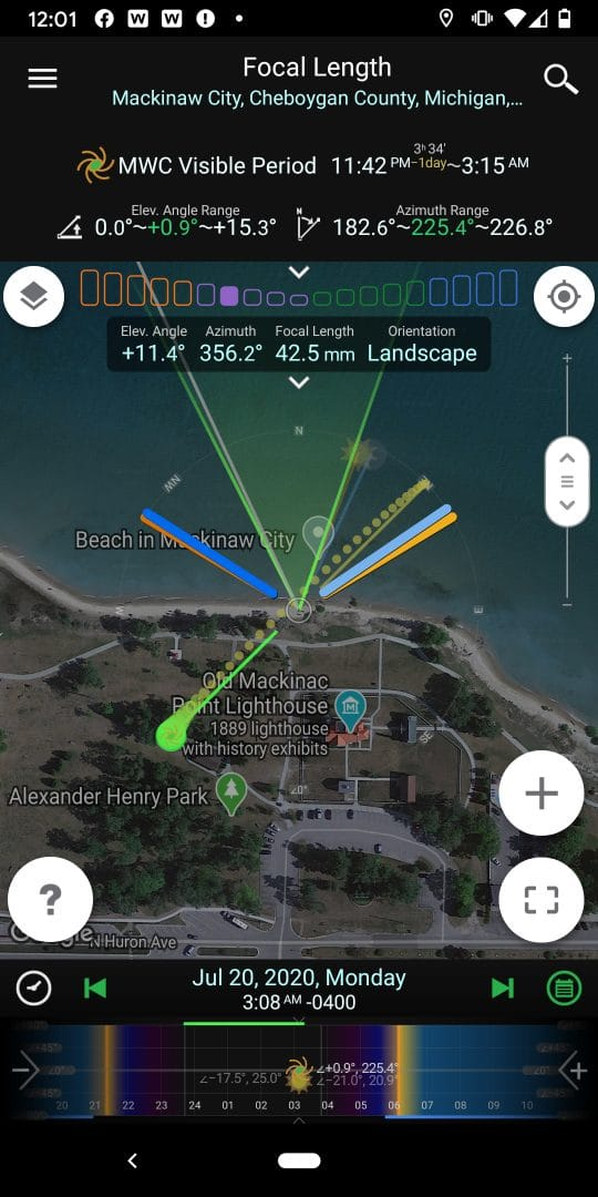 Deepscape astrophotography at Mackinac Bridge and Comet NEOWISE - location view in PlanIt Pro for Photographers.