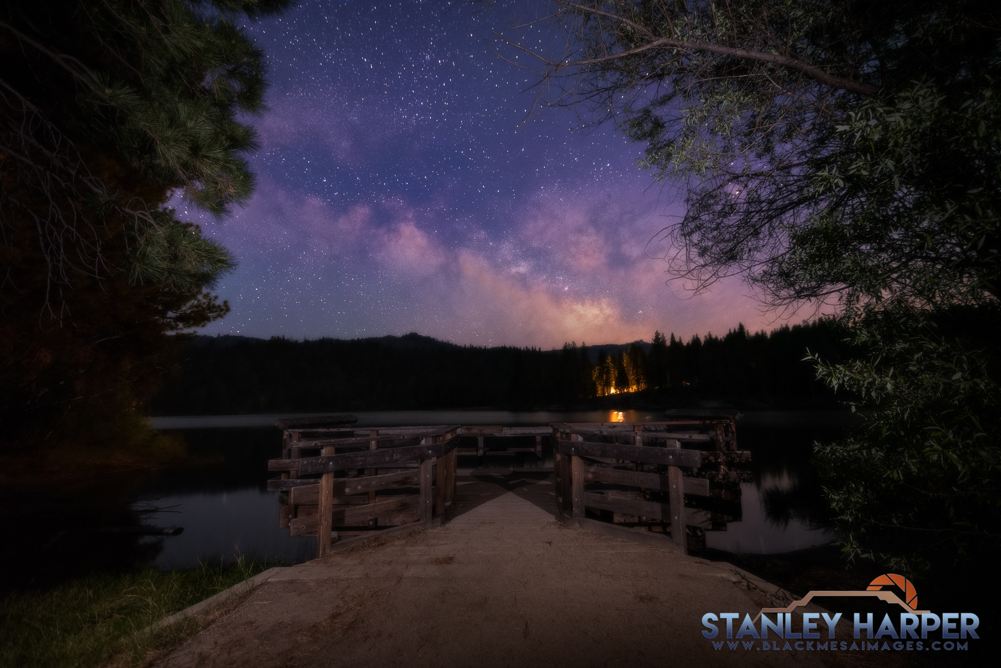 A couple Lume Cubes illuminate the foreground for Milky Way Photography at Hume Lake.