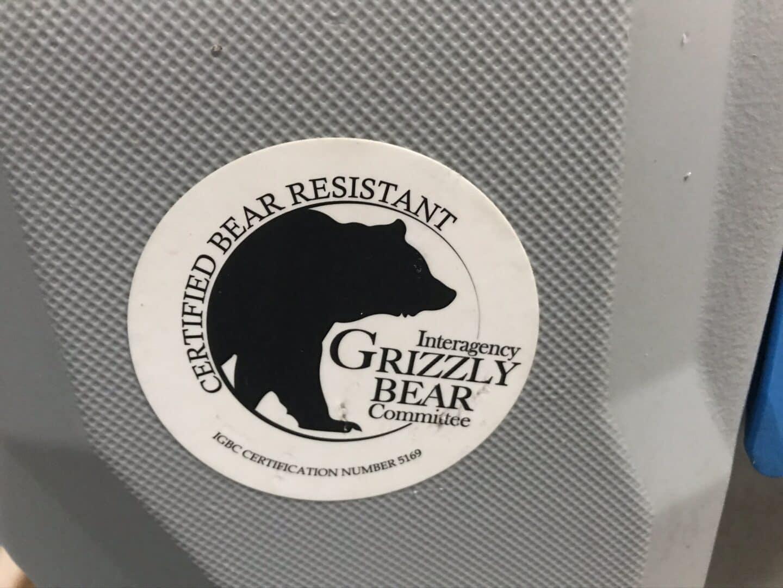 Lifetime cooler grizzly bear sticker closeup.