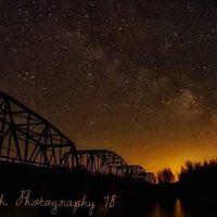 Milky way over bridge