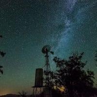 Windmill Under A Night Sky
